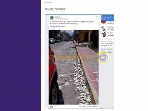Foto yang diunggah akun Facebook Safie Fbr, menuliskan rakyat Italia membuang uangnya yang dianggap sudah tidak berguna karena virus Corona yang semakin menular.