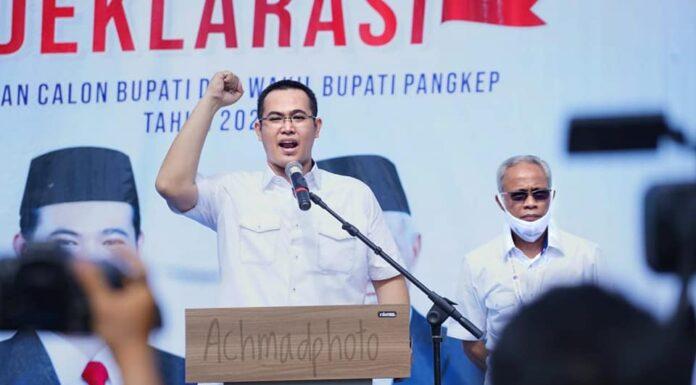 Bakal Calon Bupati dan Wakil Bupati Muhammad Yusran Lalogau dan Syahban Sammana (MYL-SS) pasangan pertama yang mendeklarasikan diri di Kabupaten Pangkep Sulawesi Selatan untuk ikut serta dalam Pemilihan Kepala Daerah (Pilkada) serentak tahun 2020.(Ist).