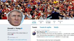 Tampilan akun Twitter Presiden Amerika Serikat, Donald Trump. [Twitter/@realDonaldTrump]