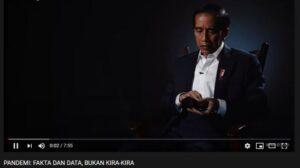Jokowi memberi uraian tentang penanganan pandemi Covid-19. (YouTube/Presiden Joko Widodo)