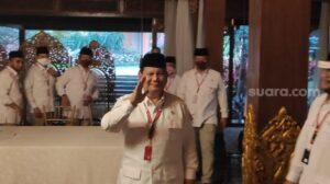 Seluruh pengurus daerah Partai Gerindra bersepakat mendukung Prabowo Subianto menjadi calon presiden pada Pilpres 2024, setelah yang bersangkutan kembali dipilih sebagai ketua umum, Sabtu (8/8/2020). [Suara.com/Bagaskara]