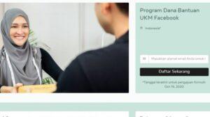 Laman pendaftaran program bantuan UMKM dari Facebook. [tangkapan layar]