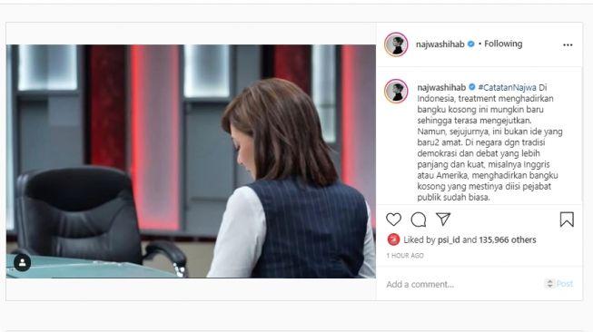 Unggahan Najwa Shihab menjealskan format wawancara kursi kosong. (Instagram/najwashihab)