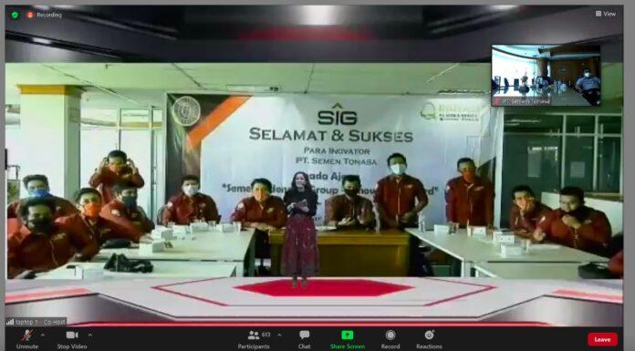 Tim inovasi PT Semen Tonasa berhasil meraih 5 (Lima) predikat juara dalam ajang Semen Indonesia Innovation Award (SIG-IA) Tahun 2020 yang diadakan secara virtual dari Gedung South Quarter Jakarta ke masing-masing OPCO, Kamis 26 November 2020, kemarin. (Humas ST).