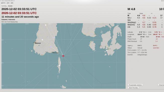 Lokasi gempa Bulukumba, Rabu 2 Desember 2020 / [Foto: BMKG Makassar]