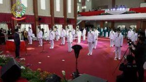 Pelantikan 11 kepala daerah oleh Gubernur Sulawesi Selatan Nurdin Abdullah di Baruga Patingalloang, Jumat 26 Februari 2021 / [SuaraSulsel.id / Humas Pemprov Sulsel]